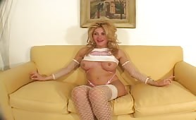 enormous titties yellow-haired shemale With Pierced Nipples Talks About Her On The Casting Couch