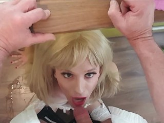 shemale Sub has to work as house slave which gets nailed deeply in her mouth