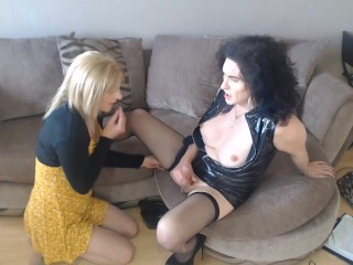 old Busty huge coked british t-girl does uk transsexual milf