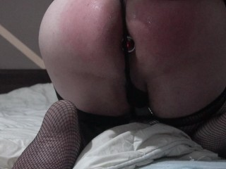 ladyboy broad had to spank herself since dom wasn't home. +buttplug