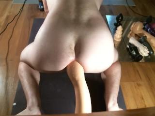sissy shemale takes massive dildo