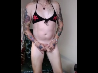 Tattooed transsexual tranny blonde transexual Solo Sex