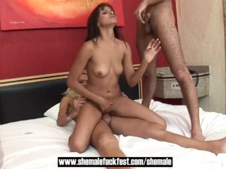sweet yellow-haired shemale mounts Straight couple in threesome - tgirl Fuck Fest