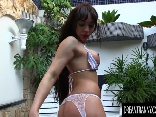 Lactating transsexual Esmeralda Brazil Gets Creative with Her asshole