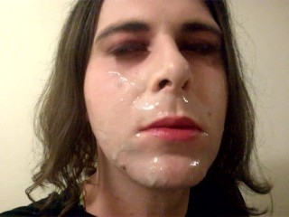 sperm girl Facial Sissy ladyboy With Semen On Face