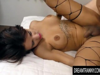 Busty Trans sweety Vitoria Neves Cums on Her guy While Riding His Hard dick