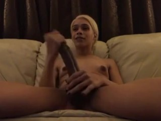 large t-girl schlong solo play