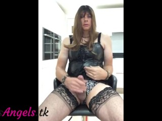 Leather Sissy cumming