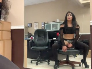 Chrissy Crossdresser shemale tgirl Practicing Riding dick witha Long Dildo