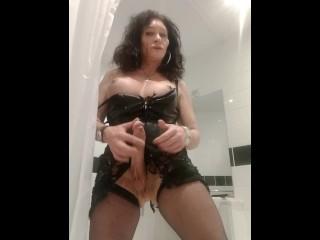 t-girl milf wanking her big rod breasts on display