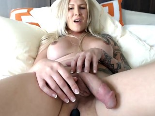 Monster cock yellow-haired transexual masturbates on webcam