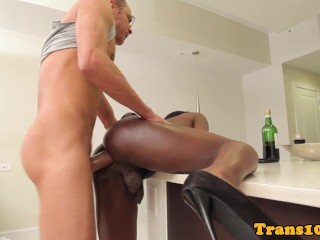 black transexual in highheels doggystyled