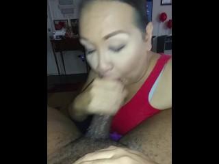 hispanic ladyboy licks my spunk!