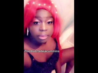 huge rod ebony tranny jacking off and talkin slutty until she cums full vid