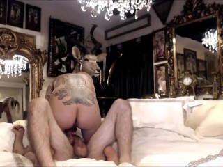 Incredibly hot inked ladyboy riding rod on webcam