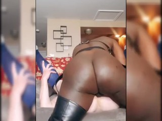Dom black tgirl pounds white hole and throat