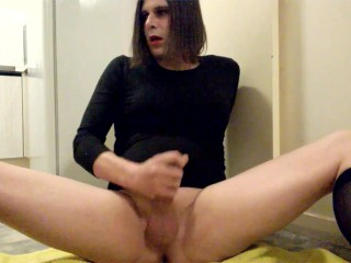 Crossdresser Trap CD Hard Long cock rod black Stockings Nylons Legs Spread Amateur Kitchen shemale