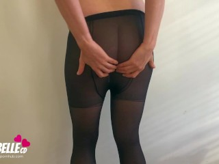 Horny Dutch Crossdressing Sissy t-girl teases Uncut ts meat in fine ebony Pantyhose Tights