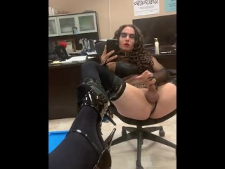 Chrissy Sliding black ass Plug in butt - crossdresser t-girl ts tranny