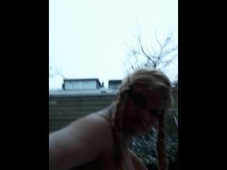 dirty GARDENBOY - CD SISSY - tgirl - EXTREME HIGH RED HEELS - DGB - PUBLIC WALKING IN SNOW - blondie