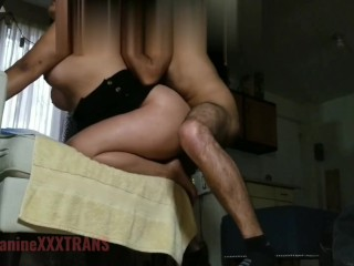 Amateur Mexican t-girl barebacked oral cum filled by straight dudes