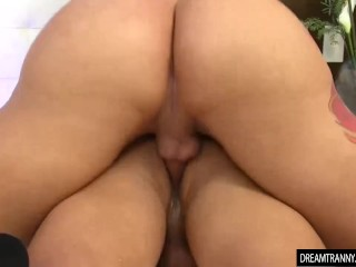 Horny transsexual Nicolly Pantoja and a stud Fuck Each Other in the booty